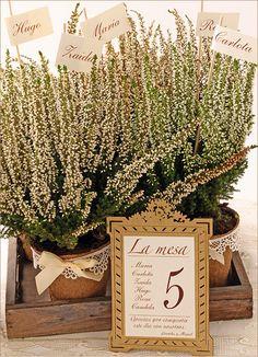 DIY bodas: organiza las mesas de vuestra boda con macetas orgánicas con el nombre de los invitados
