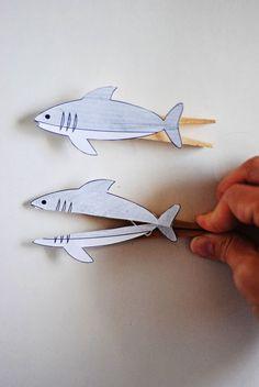 Clothespin Shark Printable :: Dandelion Drift