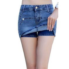 Fake two culottes women's summer denim shorts Korean tidal fat mm shorts hot pants