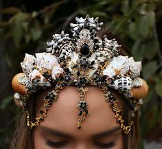 gold and black mermaid crown by chelseasflowercrowns on Etsy
