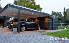 Double carport Bauhaus carport with storage room made of HPL / Trespa Alu Carport, Double Carport, Carport Garage, Double Garage, Design Garage, Carport Designs, Pergola Designs, House Design, Carport Modern