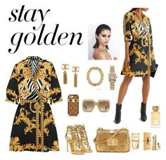"""""""Stay gold"""" by septiannico on Polyvore featuring Versace, Giuseppe Zanotti, Tom Ford, Louis Vuitton, Gucci, Cartier, AMBUSH, Michael Kors, Yves Saint Laurent and Tory Burch"""