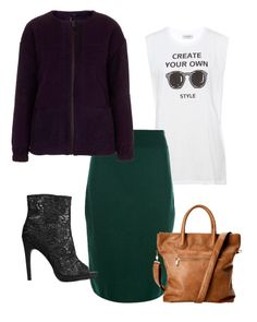 Looks Pre Fall 2014 Piezas Clave: Chamarra magenta, Topshop; falda lápiz en verde, Céline; t-shirt con gráfico, Pull & Bear; botines peep toe de encaje y bolsa tote en camello, ambos de H&M.