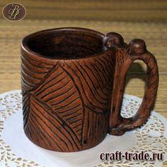 Керамическая кружка Лара  - гончарная посуда из глины  ручной работы купить в интернет магазине  Рукоделец