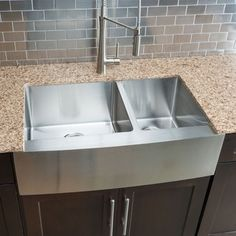 Hahn Chef Series Handmade Large 60/ 40 Double-bowl Farmhouse Kitchen Sink - Free Shipping Today - Overstock.com - 16010609 - Mobile