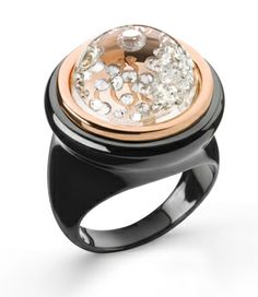 Black ceramic and18K rose gold floating diamond ring