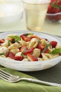Replace tomatoes with strawberries in this variation on the classic caprese salad of tomato and mozzarella. Sweet strawberries pair well wit