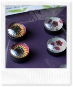 Make your own glass marble magnets with paper, marbles, glue, and magnets