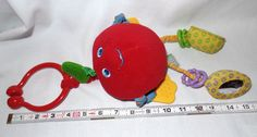 Tiny Love Red Apple Vibrating Baby Toy Plush Teething Crib Rattle Fruit 0+  #TinyLove