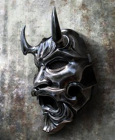 Uncle Oni Mask 316 Japanese Noh Style Fiberglass by TheDarkMask Near Dark, Japanese Legends, Oni Mask, Samurai Artwork, Japanese Mask, Basara, Traditional Fashion, Showcase Design, Game Character