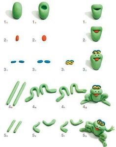 How to make a frog out of Polymer Clay Tutorial - I reckon this would go well out of fondant as a cake topper too! Polymer Clay Animals, Fimo Clay, Polymer Clay Projects, Polymer Clay Charms, Clay Crafts, Decors Pate A Sucre, Decoration Patisserie, Frog Cakes, Fondant Animals