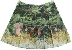 Inge Van den Broeck - skirt gnomes - Plead skirt with a cute gnome print. Flat waist band with adjustable elastic in the back. Side zipper. 100% cotton.