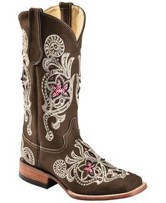 Ferrini Snake Print Inlay Embroidered Cowgirl Boots - Wide Square Toe