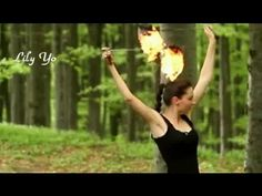 Lily Yo Fire Poi Freestyle Spinning in the Mountains Forest - YouTube