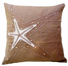 coastal burlap tortoise down filled pillow coastal burlap starfish ...