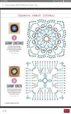 from Granny square collection 2016 Granny Square Crochet Pattern, Crochet Blocks, Crochet Diagram, Crochet Stitches Patterns, Crochet Chart, Crochet Squares, Crochet Motif, Crochet Designs, Crochet Doilies