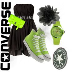 A fashion look from March 2012 featuring Jeane Blush dresses, Converse ankle booties and Converse sneakers. Browse and shop related looks. Dress With Converse, Dress With Sneakers, White Converse, Converse Sneakers, Dance Outfits, Cool Outfits, Plus Size Homecoming Dresses, Blush Dresses, Prom Shoes