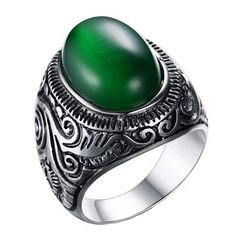 CARTER PAUL Men's Stainless Steel Diamond Big Green Opal Gemstone Ring -- Awesome products selected by Anna Churchill