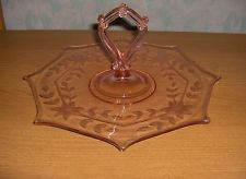 Standard Pink Pattern #61 Depression Glass Center Handled Sandwich Tray Server
