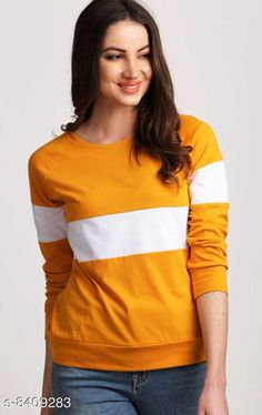 Checkout this latest Sweatshirts Product Name: *Popster Mustard & white color blocked Cotton Round Neck Regular Fit Long Sleeve Womens T-shirt* Sizes: S (Bust Size: 34 in, Length Size: 38 in, Waist Size: 30 in, Hip Size: 38 in)  M (Bust Size: 36 in, Length Size: 40 in, Waist Size: 32 in, Hip Size: 40 in)  L (Bust Size: 38 in, Length Size: 42 in, Waist Size: 34 in, Hip Size: 42 in)  XL (Bust Size: 40 in, Length Size: 44 in, Waist Size: 36 in, Hip Size: 44 in)  Easy Returns Available In Case Of Any Issue   Catalog Rating: ★4.1 (1611)  Catalog Name: Popster Sensational Women Sweatshirt CatalogID_1413660 C79-SC1028 Code: 723-8409283-807