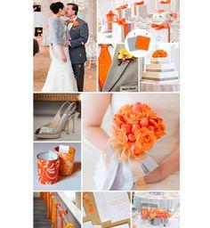 Decoração do casamento laranja e cinza
