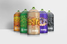 Zebra Pro Graffiti Cans (Concept) on Packaging of the World - Creative Package Design Gallery Acrylic Spray Paint, Spray Painting, Pitaya, Creative Package, Packaging Design Inspiration, Color Names, Package Design, House Painting, Oem