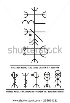 The Icelandic magical stave Lukkustafir symbol of Luck. Alchemy, religion, spirituality, occultism, tattoo art. Black and white