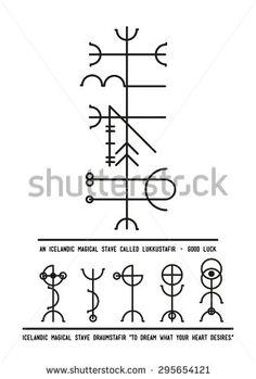 The Icelandic magical stave Lukkustafir symbol of Luck. Alchemy, religion, spirituality, occultism, tattoo art. Black and white