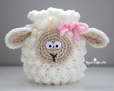 Crochet Sheep Drawstring Bag