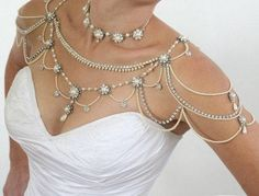 Necklace For The SHOULDERS,Bridal Victorian Style,Pearls Rhinestone,Crystals,OOAK Bridal Jewelry,Wed