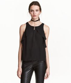 Sleeveless Ruffled Blouse | Black | Ladies | H&M US