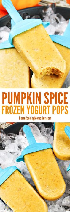 This easy pumpkin recipe is a must save for fall! This Pumpkin Spice Frozen Yogurt Pops recipe includes canned pumpkin puree, vanilla yogurt, pumpkin pie spice & everything nice!