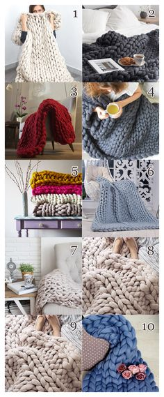 Do you love the look of cozy knit blankets? These 8 DIY chunky knit blanket tutorials are must-trys! Check out the Esty shops and supply lists included! Knitting Blogs, Knitting Projects, Knitting Patterns, Knitting Ideas, Finger Knitting, Arm Knitting, Chunky Knit Throw Blanket, Wool Blanket, Pink Blanket