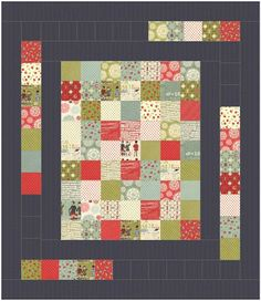 Like the dark background...moda happy weekender quilt  daisy and jack: quick charm pack quilts !
