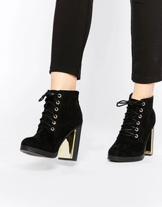 5be17cfc5c0002 New Look Lace Up with Gold Detail Block Heel Boot