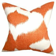 Add a pop of colour to your neutral scheme with this cotton, linen and high-fiber polyestermix cushion, featuring a striking ikat design. Team with matching artwork and bare wood floors to complete the look.  Product: CushionConstruction Material: Rayon, linen and high-fiber polyesterColour: OrangeFeatures:  Reversible with same fabric on both sidesHidden zipperInsert included Made in the USADimensions: 46 cm x 46 cmCleaning and Care: Dry cleaning recommended