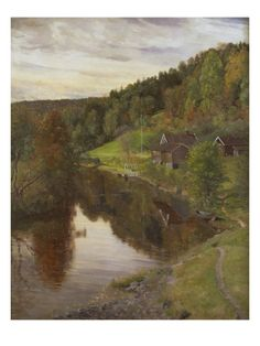 River Landscape in Eggedal, 1890 Giclee Print by Christian Skredsvig