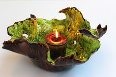 Clay Candle Holder  Ceramic Free Formed by SueDicksonGallery, $45.00