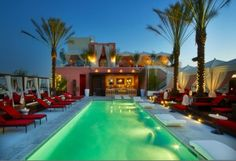 Lounging poolside at the W Hollywood Hotel, Los Angeles