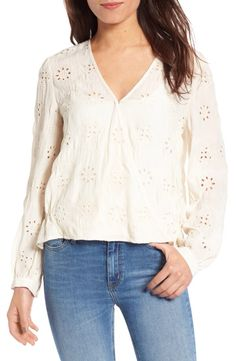 Hinge Hinge Eyelet Surplice Top available at #Nordstrom