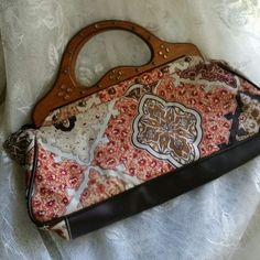 Moroccan-Style Wood and Cotton Handbag Unique, totally boho, all-vegan handbag.  Fully lined, with one inside zip pocket.  Reposh, not my granddaughter's style. TRADES PP     Please use Offer Button Bags