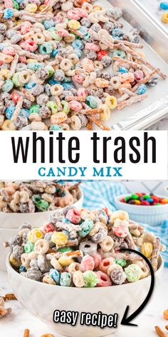 White Trash Candy. Open your pantry, dump a bunch of salty sweet snack foods in a bowl and cover it with white chocolate. Homemade candy at its easiest! Homemade Candies, Homemade Desserts, Sweet Desserts, Delicious Desserts, Yummy Food, Sweets Recipes, Candy Recipes, Snack Recipes, Holiday Recipes