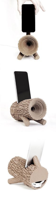 Tree Trunk Amplifier, 3D printed in real wood. Designed by Matthijs Kok.
