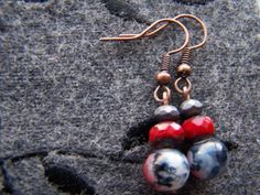 RockStar Red Black Dangle Earrings by autumnraincreations on Etsy, $14.00