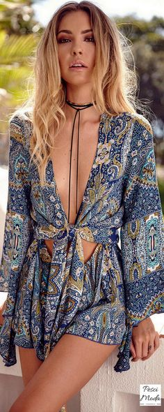 Boho Chic Flare Sleeve Jumpsuit. Get Additional 10%Off your first order at www.pescimoda.com Shipping all over United States. #WomensFashion #FashionForTeens #Outfits #OutfitsForTeens #SummerFashion #Fashion2016 #ChicFashion #EverydayOutfits #HippieStyle