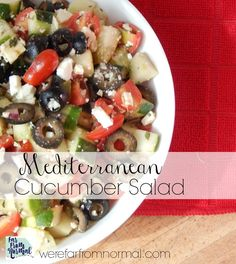 This Mediterranean cucumber salad combines the delicious flavors of cucumber, black olives, tomatoes, and feta cheese to create an amazing salad for any occasion!