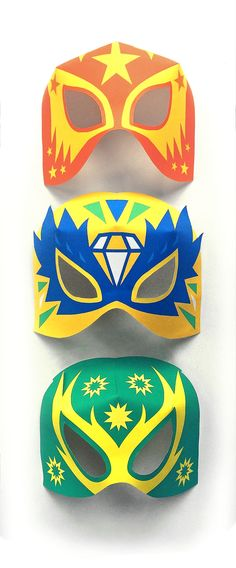 Lucha Libre mask set by Happythought! 12 printable paper templates to download instantly and make.