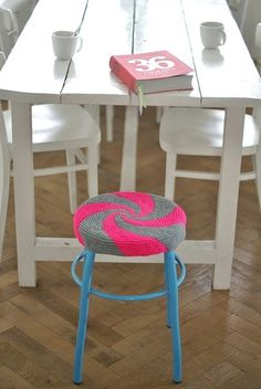 Knitted stool cover