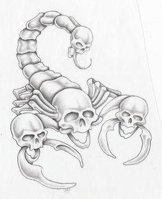scorpion by markfellows on DeviantArt Tattoo Design Drawings, Heart Tattoo Designs, Skull Tattoo Design, Skull Tattoos, Tattoo Sketches, Body Art Tattoos, Art Sketches, Sleeve Tattoos, Stencils Tatuagem