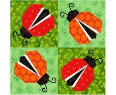 Ladybugs Paper piecing quilt block pattern INSTANT DOWNLOAD PDF. $3.00, via Etsy.